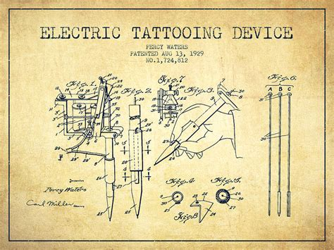 tattoo gun patent electric tattooing device patent from 1929 vintage