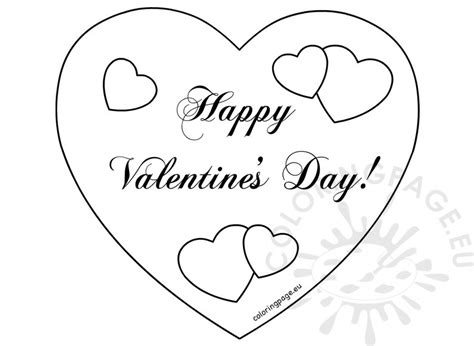 happy valentine s day hearts card coloring page