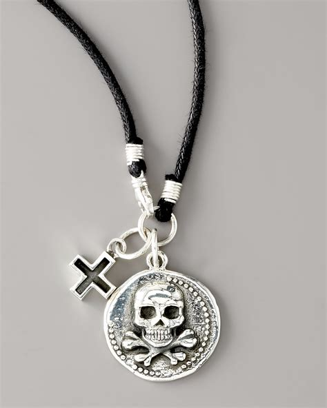 cord jewelry king baby studio skull coin cord necklace in metallic for