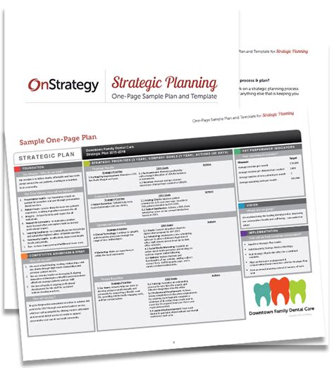 Thank You Strategic Planning One Page Sle Plan And Template 1 Page Strategic Plan Template