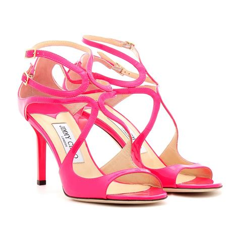 pink sandals shoeniverse jimmy choo pink ivette patent leather neon