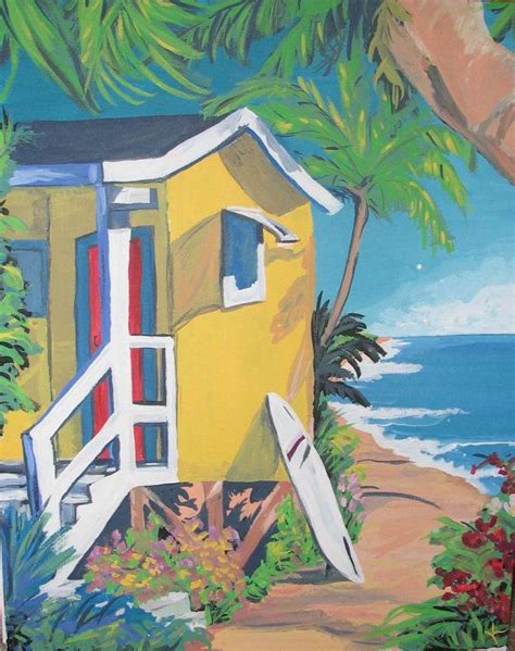 house painting art beach house 8x10 colorful acrylic contemporary beach