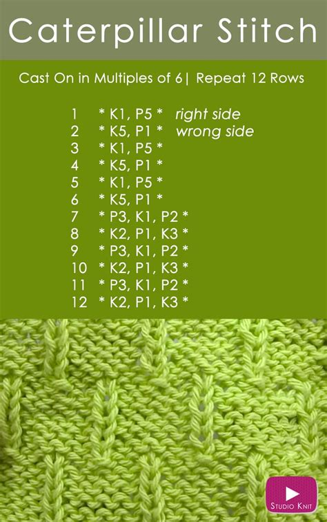 how to knit pdf how to knit the caterpillar stitch pattern with