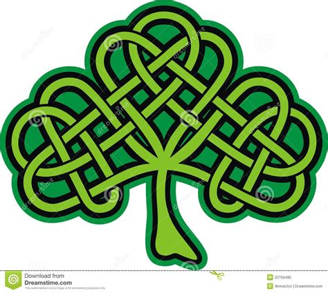 shamrock ornate celtic tattoo stock vector image 22755495