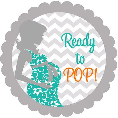 Pop Nosh Baby Blues by Baby Shower Chevron She Is Ready To Pop Personalized