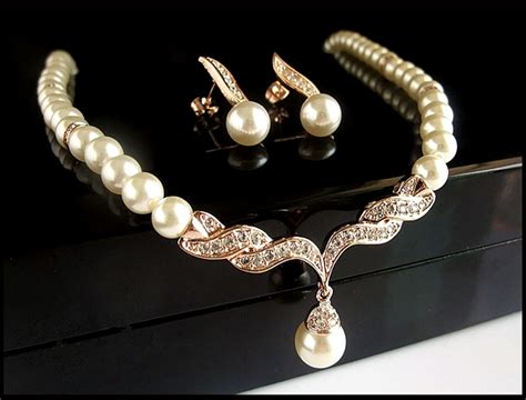 from jewelry gold bridal jewelry sets faux pearl rhinestone