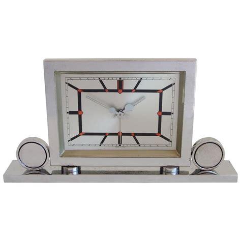 mechanical desk clock italian art deco chrome mechanical alarm clock with red