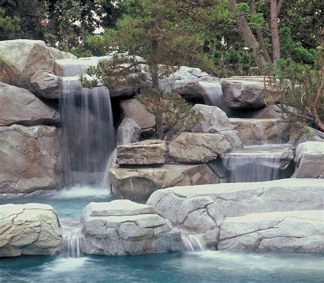 faux rock waterfalls, caves & boulders offer a natural