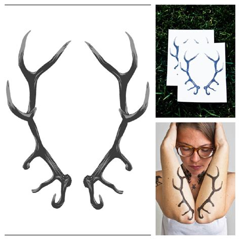 antlers temporary tattoo set of 2