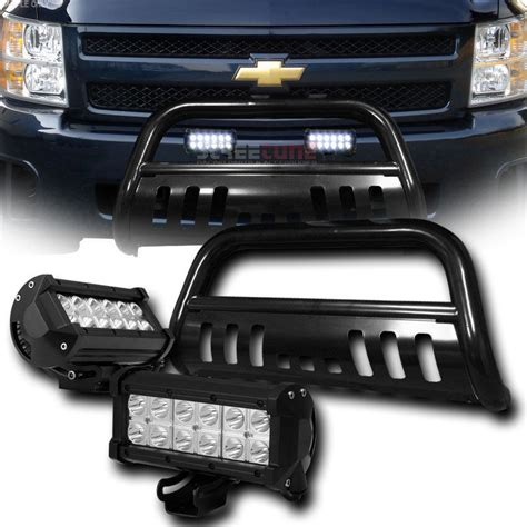 Silverado Led Light Bar 2007 2010 Chevy Silverado Gmc Black Bull Bar 36w Cree Led Fog Lights