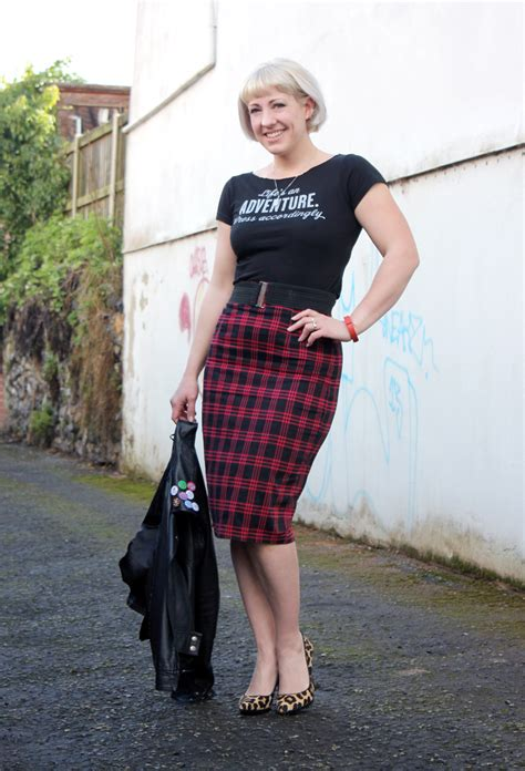 post t shirt and pencil skirt with a leather jacket