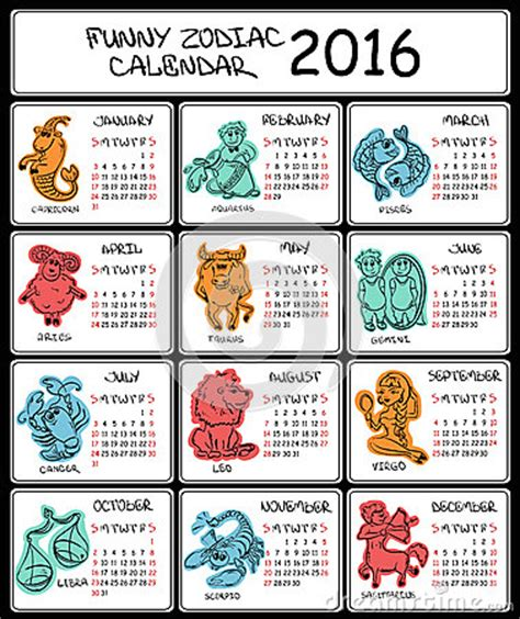 new year 2016 horoscope taurus 2016 calendar template with zodiac signs stock vector
