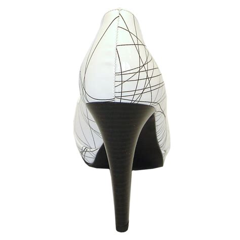 kaiser nixe black and white high heel court shoes