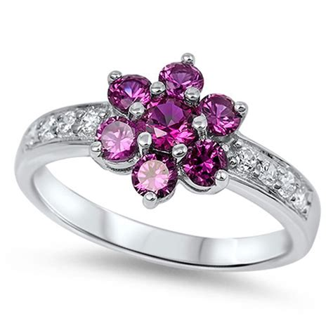 flower cluster ring new 925 sterling silver band ebay