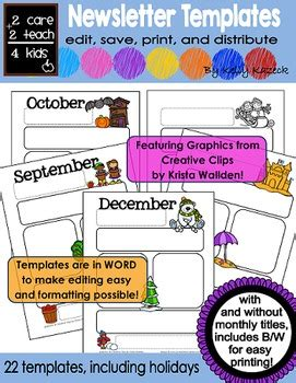 Editable Monthly Newsletter Templates By 2care2teach4kids Tpt Monthly Newsletter Template Word