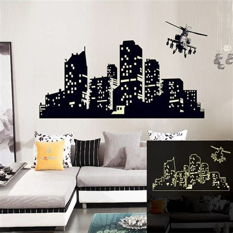 large fluorescent luminous vinyl wall stickers city of the