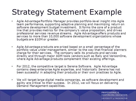 strategy statement template product management certificate program ppt