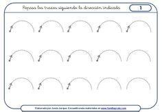 ejercicios de grafomotricidad con trazos curvos para la letra vocal a fichas infantiles de las vocales
