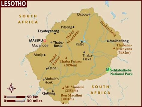 lesotho map map of lesotho