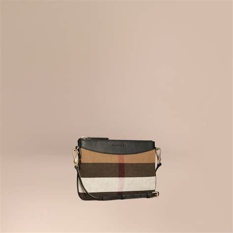 Canvas Clutch Bag canvas check and leather clutch bag black burberry