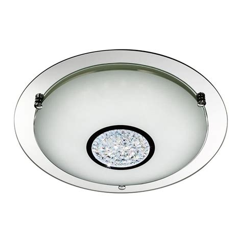 Semi Flush Glass Ceiling Light by Searchlight Modern Led Chrome Glass Semi Flush