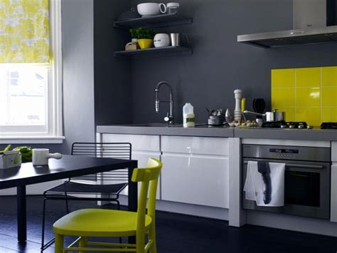 Kitchens with gray color scheme, grey and yellow kitchen