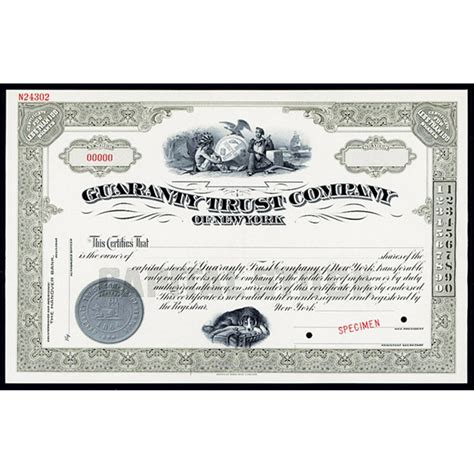 guaranty trustpany of new york guaranty trust co of new york specimen stock