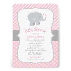 elephant baby shower invitations pink and gray 5 quot x 7 quot invitation card zazzle
