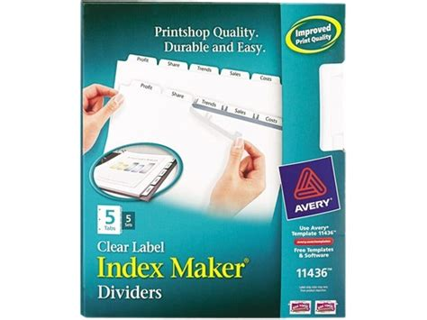 avery index maker 5 tab template avery 5 tab template 11436 avery index maker label