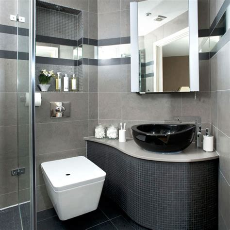 see this sleek grey bathroom makeover ideal home