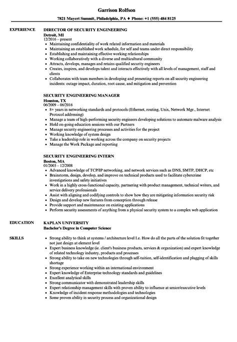 security engineer resume exle security engineering resume sles velvet