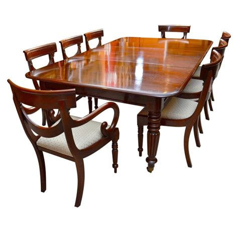 Antique Dining Tables And Chairs Antique Regency Dining Table With 8 Vintage Chairs At 1stdibs