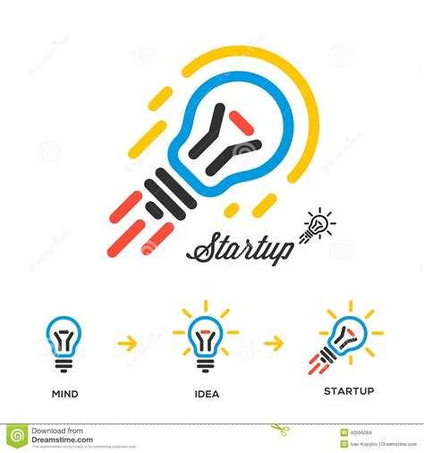 free illustration startup start up business start start up business concept network bulb rocket stock