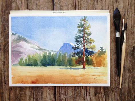 Easy Landscape Pictures To Paint Watercolor Landscape Painting 5 Step Tutorial