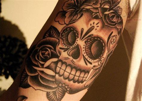 candy skull and roses tattoo flower and sugar skull
