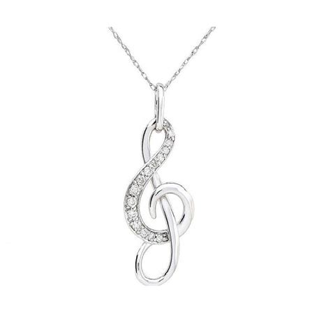 sterling silver treble clef musical note necklace