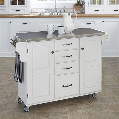 shop kitchen islands shop home styles white scandinavian kitchen carts at lowes