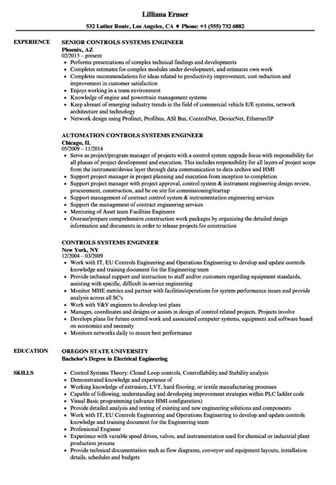 system engineer resume format controls systems engineer resume sles velvet