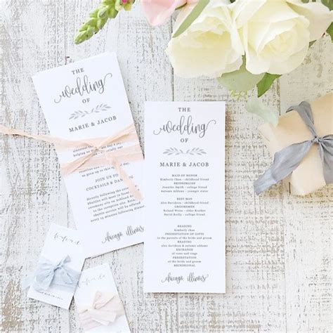 wedding program templates for pages 84 best everly compatible printable wedding templates