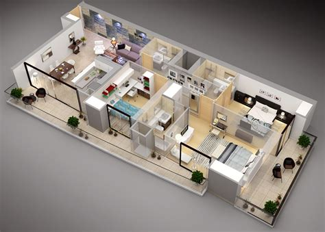 50 Three ?3? Bedroom Apartment/House Plans   Architecture