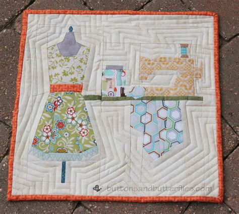 Studio Quilt buttons and butterflies sewing studio mini quilt