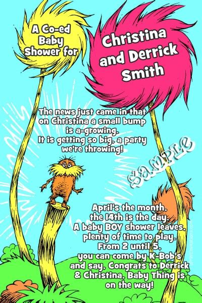 printable lorax invitations dr seuss the lorax baby shower invitations