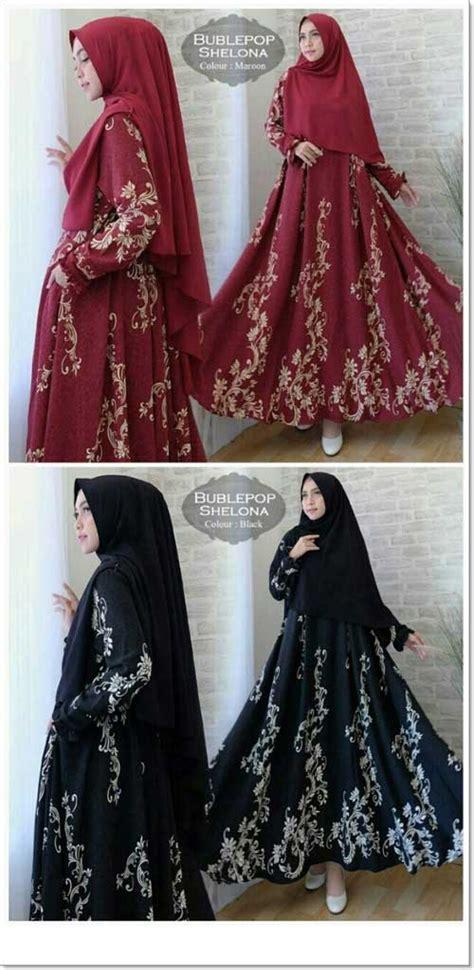 Jual Gamis Brokat Warna Maroon jual gamis muslimah cantik bahan bubblepop