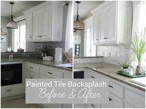 Painting Kitchen Tile Backsplash by I Painted Our Kitchen Tile Backsplash The Wicker House
