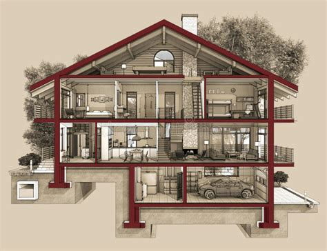 4 Bedroom Floor Plans With Basement by 3d Section Of A Country House Stock Illustration