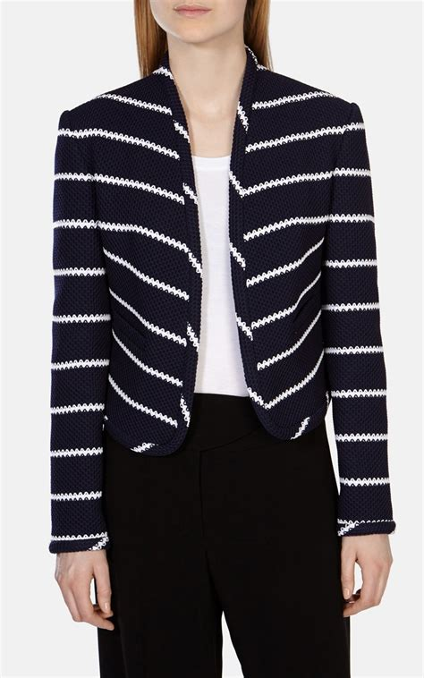 striped sleeve blazer grey navy lyst millen navy and white striped jersey jacket in blue