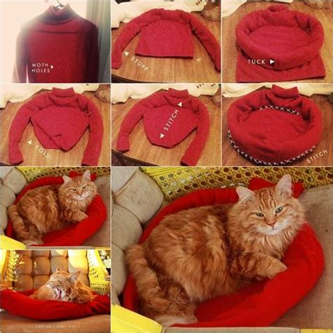 diy cat beds how to diy cozy cat bed from old sweater