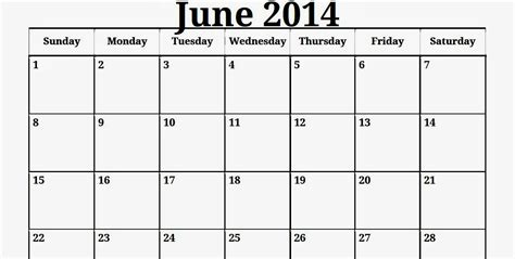June 2014 Calendar Template by 2014 Calendar Of June Calendar