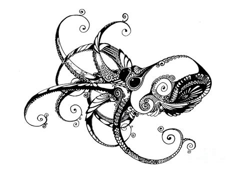 tattoo pen saltwater octopus drawing by irina yezhova