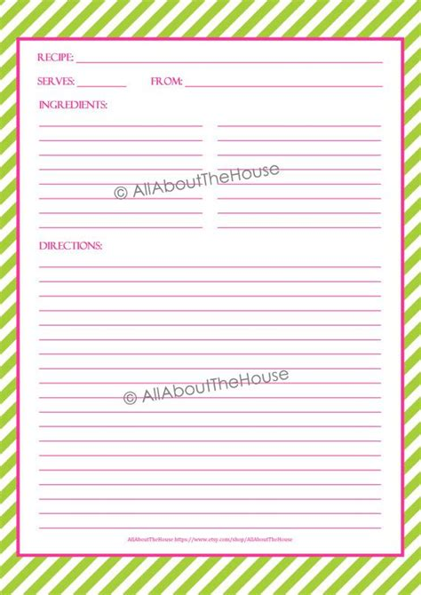 editable recipe binder printables recipe sheet recipe card
